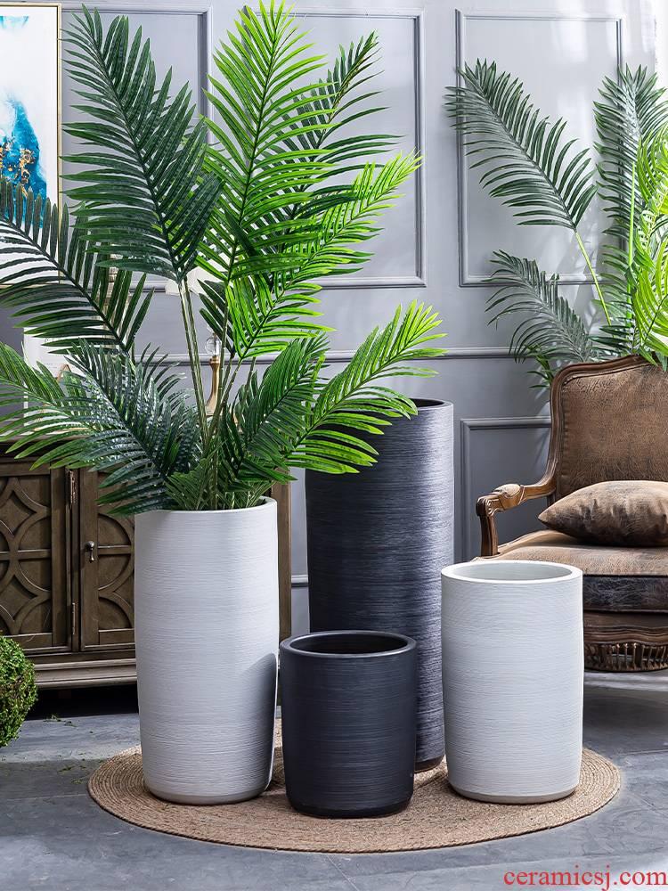 Big flowerpot Nordic simple villa interior furnishing articles new ceramic basin of large ground plant black vase