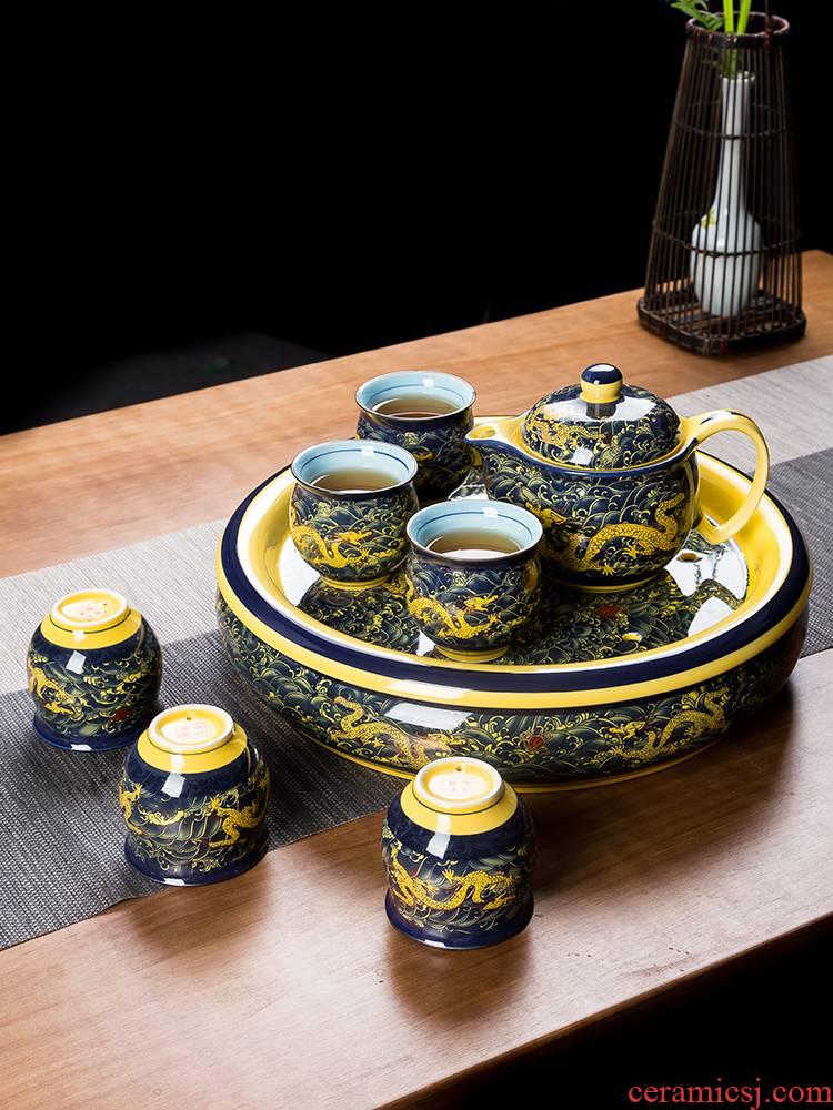 Jingdezhen tea set suits for domestic high - grade double kung fu tea set ceramic teapot teacup tea tray of a complete set of tea