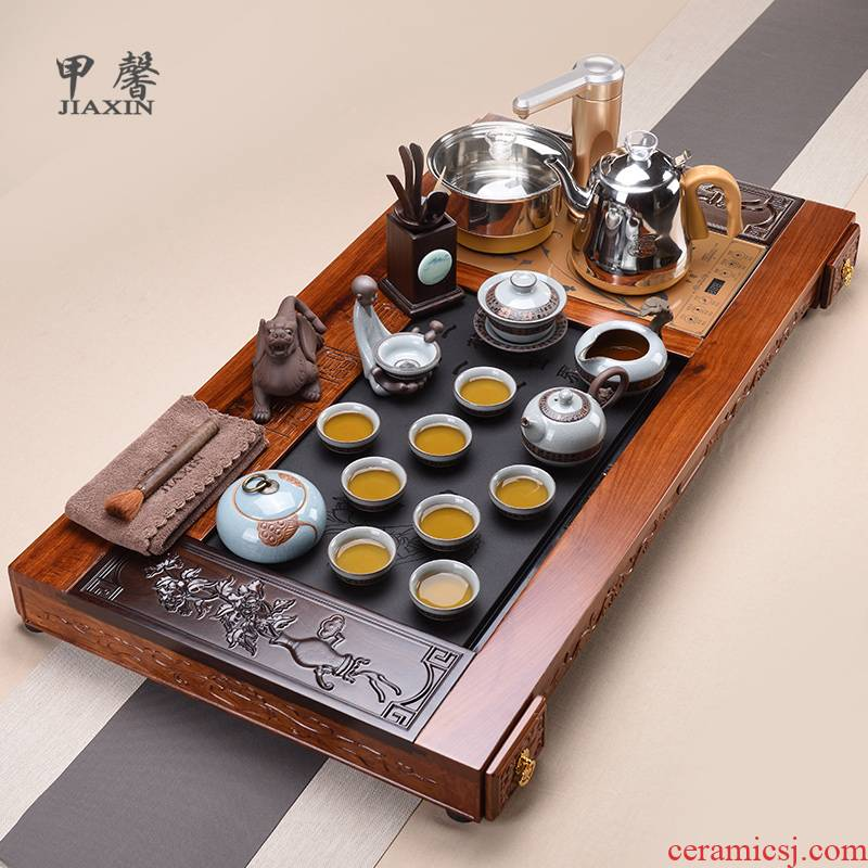 Shadow at hua limu blooming flowers, blue and white porcelain kung fu tea set automatic water solid wood tea tray household JX