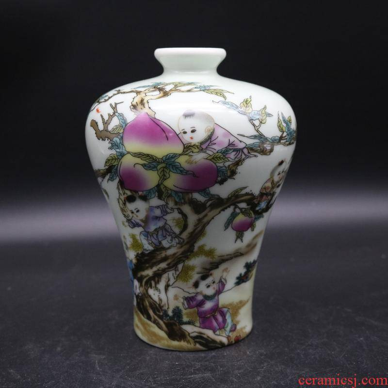 Dajing pastel nine son climb peach name plum bottle antique porcelain and old factory goods home decoration antique penjing collection