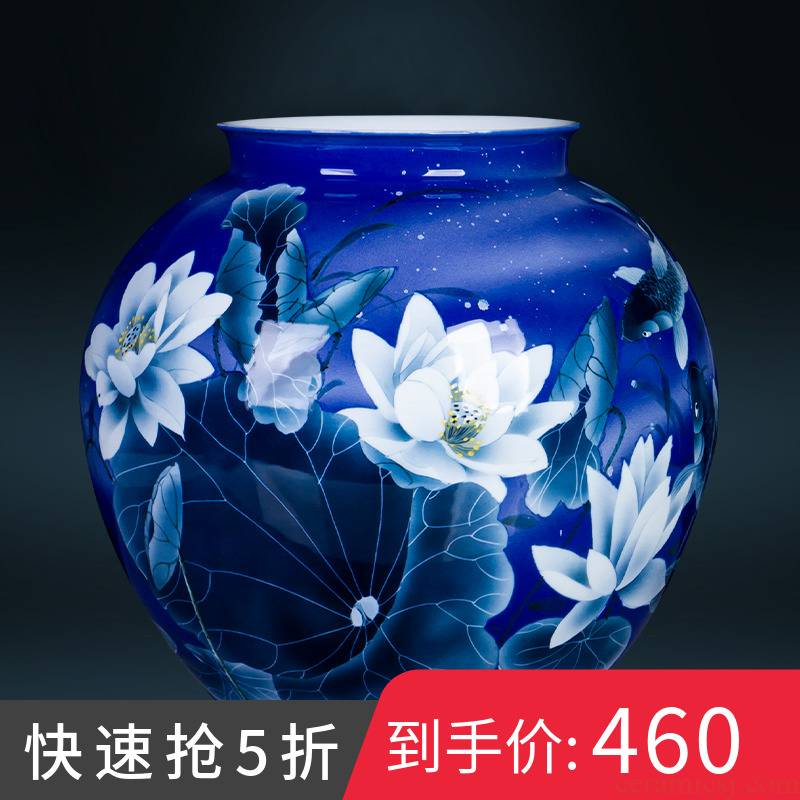 Jingdezhen ceramics hand - made porcelain lotus large vases, Chinese style home club sitting room adornment is placed