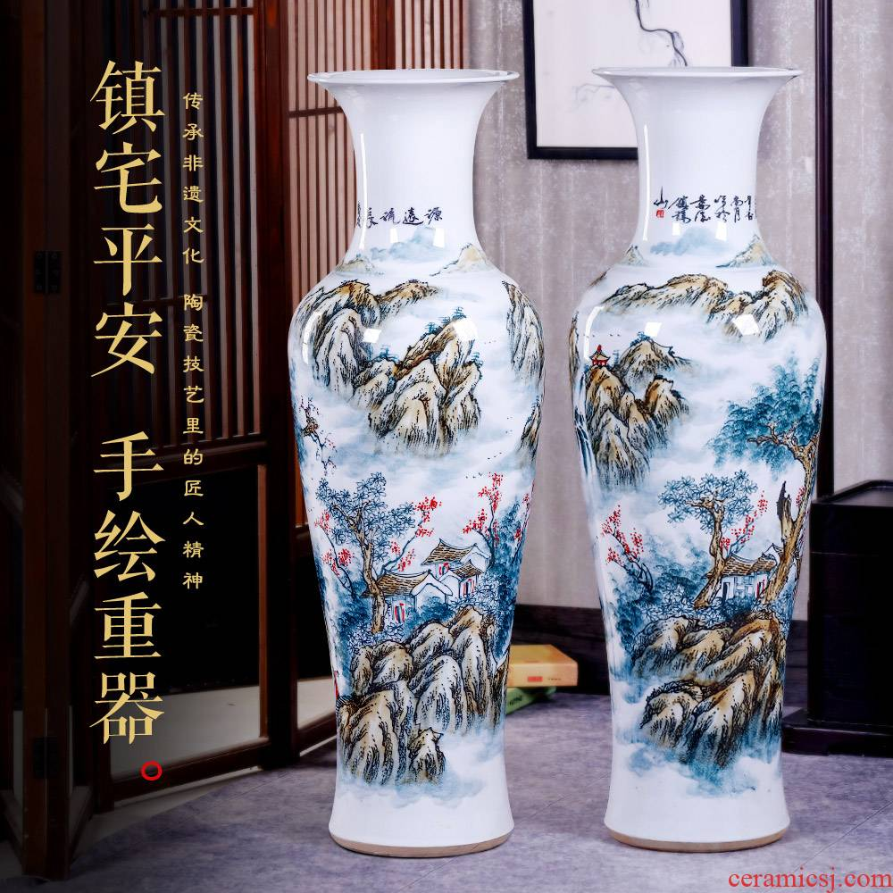 Jingdezhen blue and white big ceramic floor hand - made vases, Chinese I sitting room place hotel opening housewarming gift