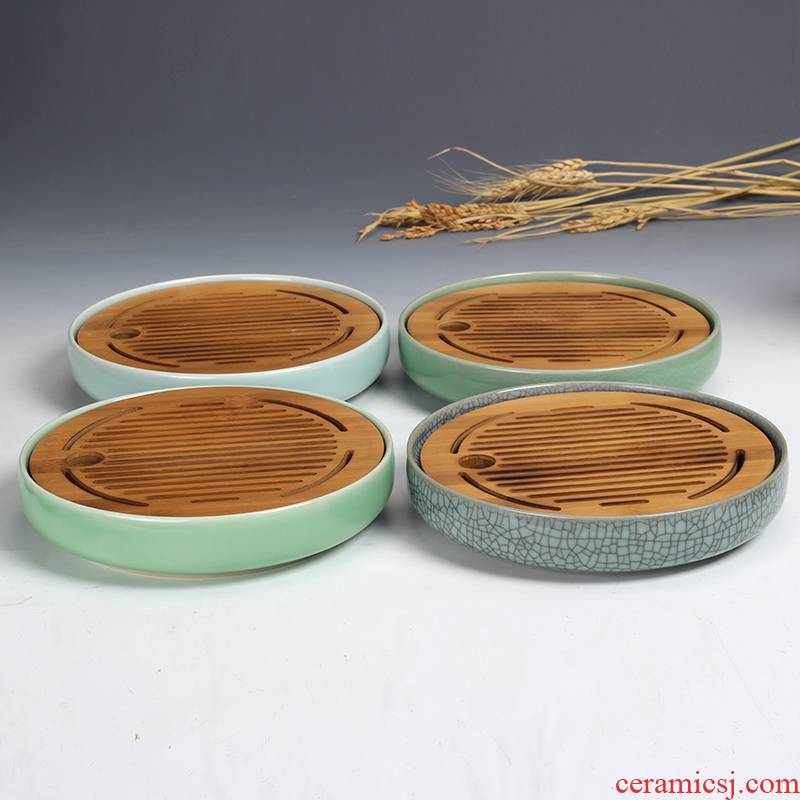 Longquan celadon dry mercifully bamboo Joe kung fu tea tray ceramic tea set accessories household water circular contracted small tea table
