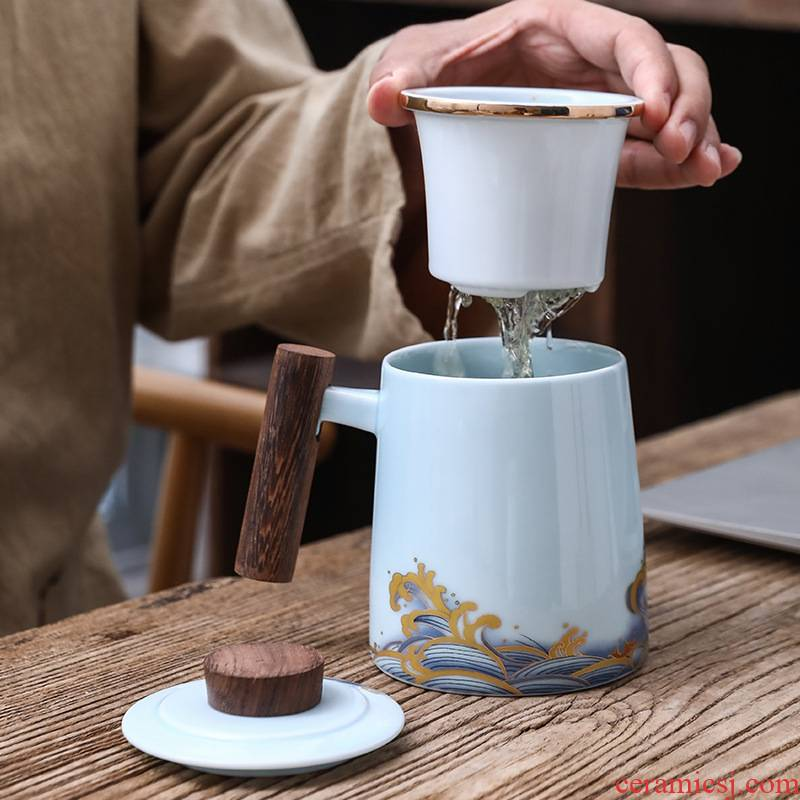 Separation bincoo ceramic cups tea tea high - capacity office every tide mark cup with cover the tea cups