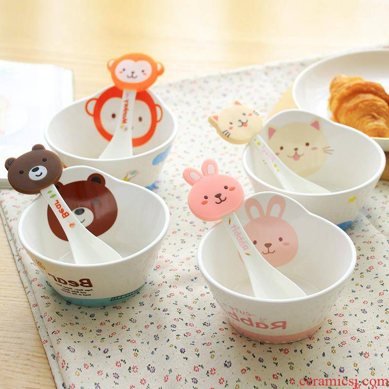 The kitchen lovely cartoon children 's individual creative small ceramic bowl bowl household tableware suit The baby to eat bread and butter
