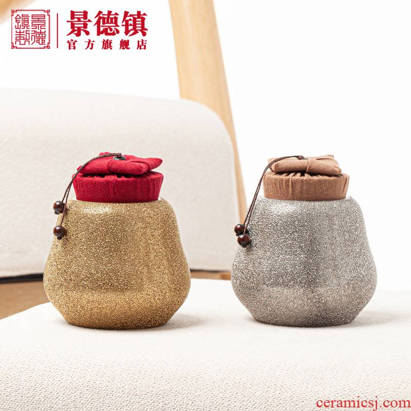 Jingdezhen porcelain, gold and silver sand caddy fixings high temperature porcelain sackcloth lawsuits cover sealing good home office gift items