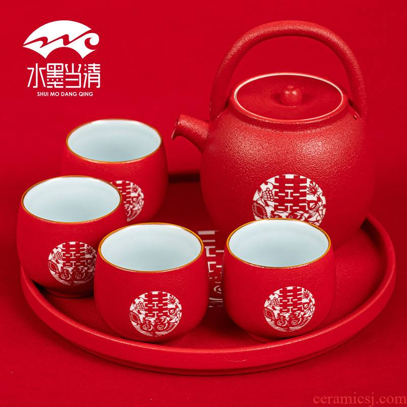 Red wedding tea set a pot of four cups of dowry new high - grade ceramic teapot teacup household wedding taking