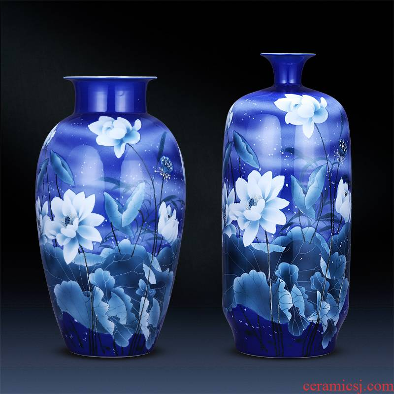 Jingdezhen ceramics hand - made large blue and white porcelain vase landing place sitting room adornment of Chinese style household porcelain