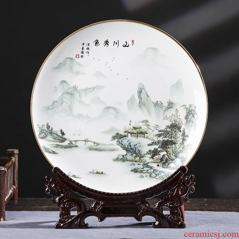 Ipads China jingdezhen ceramics hang dish decorative plate Chinese style living room home rich ancient frame decoration handicraft furnishing articles