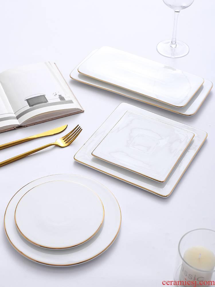 Up Phnom penh ceramic dinner plate light key-2 luxury afternoon tea heart plate of fruit cake plate rectangular plates disc sushi plate