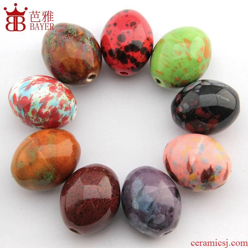 Ba jas Q high - temperature glaze ceramic big beads scattered beads ceramic beads round bead bead string bracelet beads diy accessories accessories