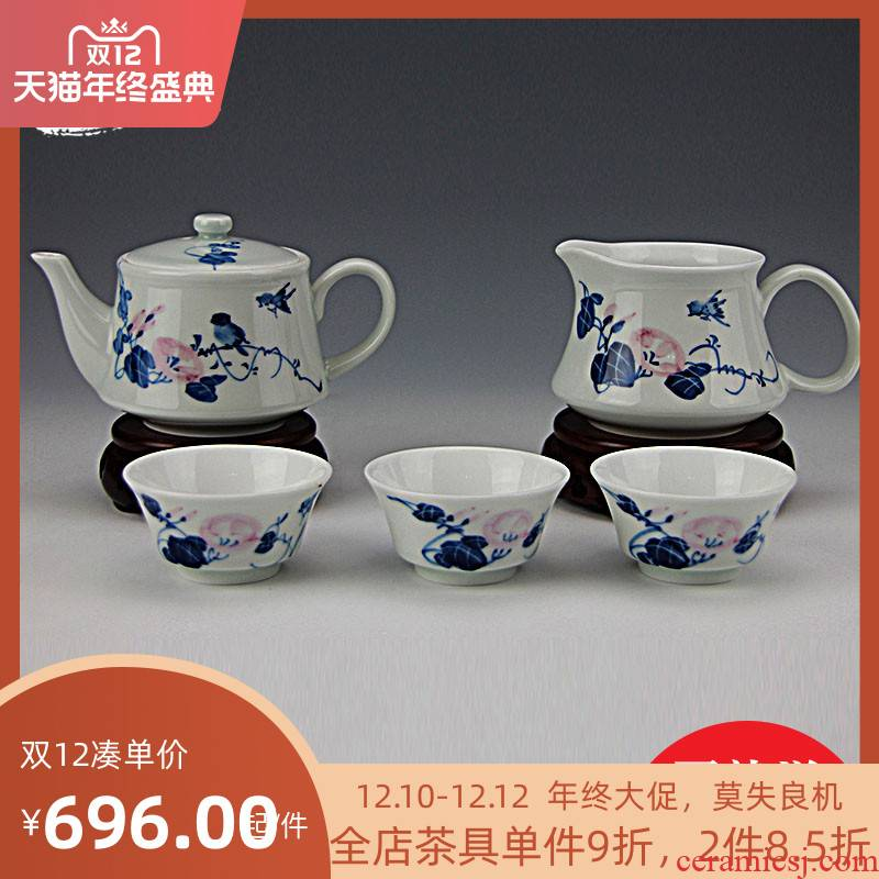 And auspicious color bucket of a complete set of kung fu tea set of jingdezhen hand - made teapot tea gift box the tea sets