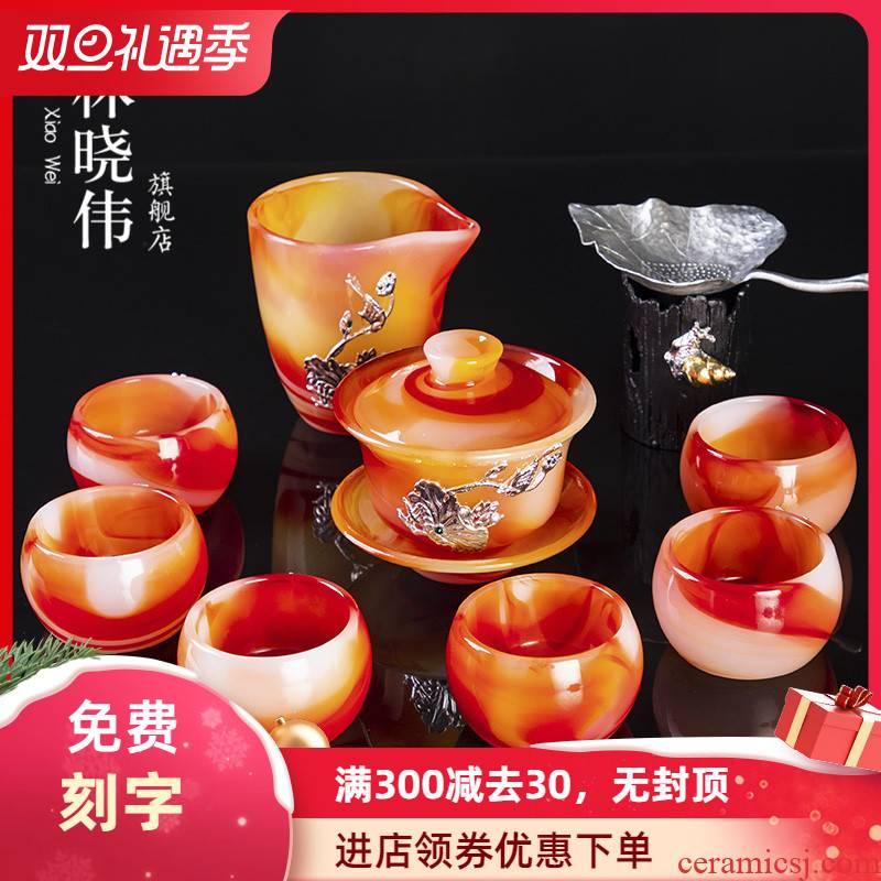 Silver coloured glaze jade porcelain tea tureen kung fu tea set office household agate jade cup gift box