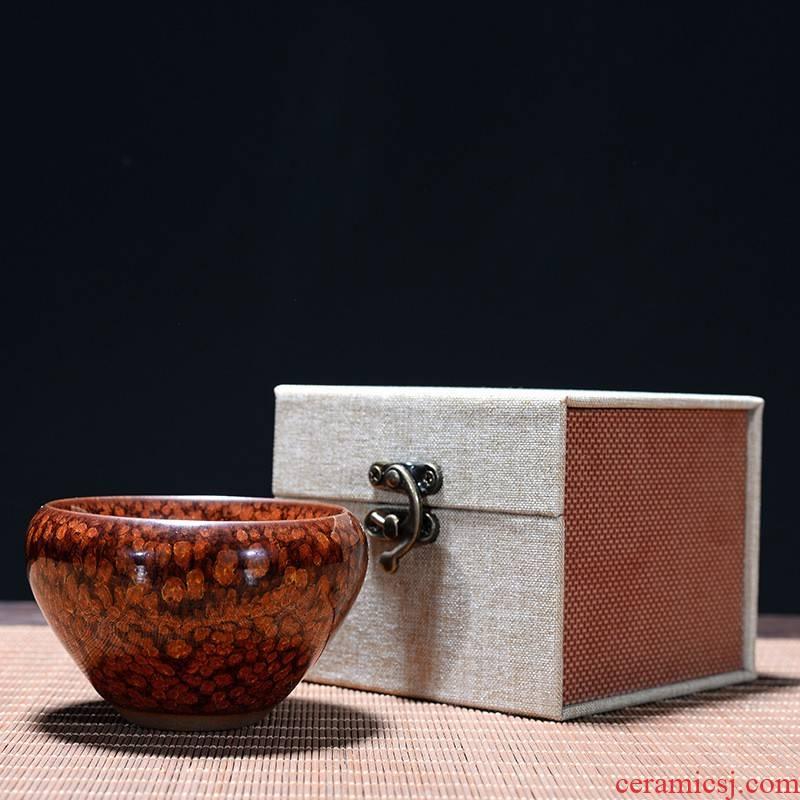 Jinzhan hui shi ceramic sample tea cup temmoku built one master cup small tea cup home of kung fu tea set, single CPU