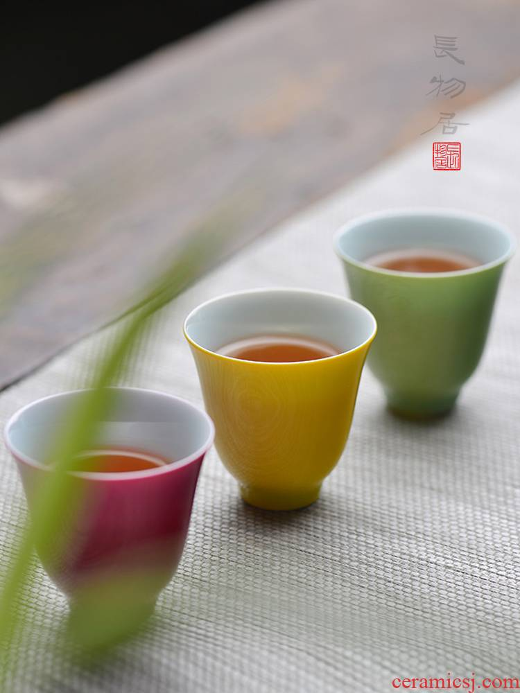Offered home - cooked manual single glaze the bell sample tea cup in a single master of jingdezhen ceramic cups tea light cup