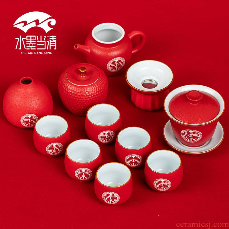 Wedding tea set new high - grade red dowry is festival for ceramics question home worship cups gift boxes