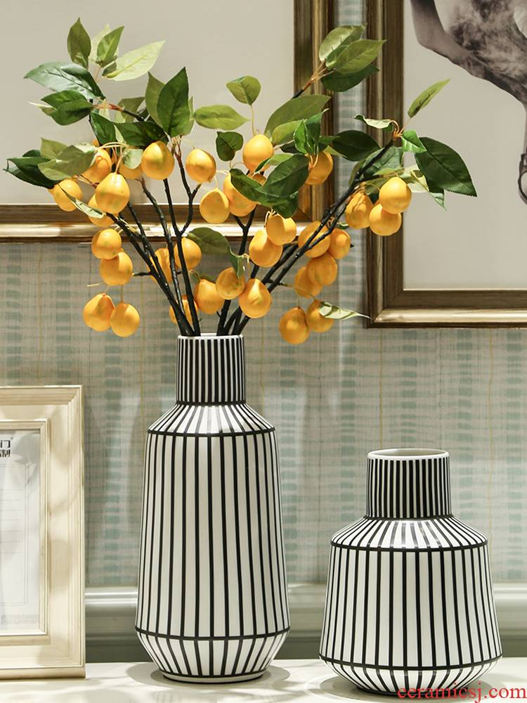 Nordic, black and white color matching stripe ceramic vase example room flower arranging furnishing articles creative contracted hydroponic flowers ornament