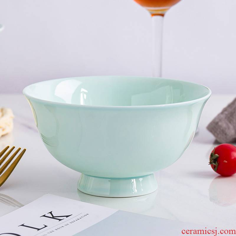 Jingdezhen ceramic tableware green rice bowls high rainbow such as bowl porringer ceramic bowl Chinese style household celadon bowls