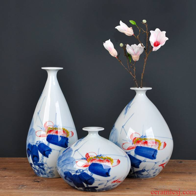 Jingdezhen ceramics hand - made vases ChanCuiQing lotus three - piece flower arranging home furnishing articles sitting room decoration