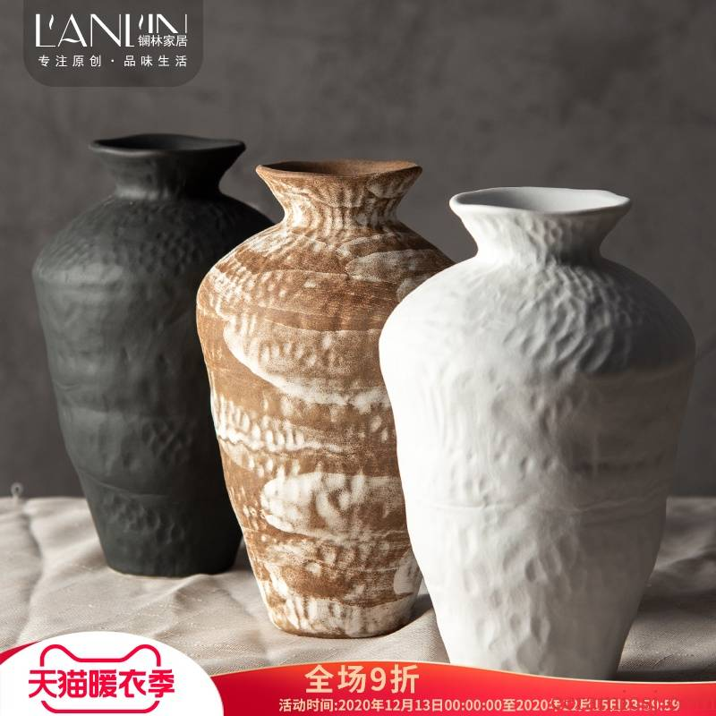 Japanese zen jingdezhen ceramic vase furnishing articles living room table flower arranging flower implement manual white floret bottle of restoring ancient ways
