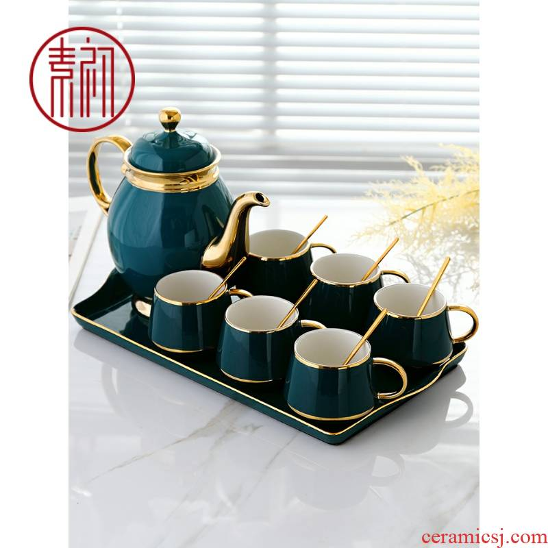 The Nordic household ceramic coffee cup small European - style key-2 luxury glass cup cold suit English afternoon tea kettle