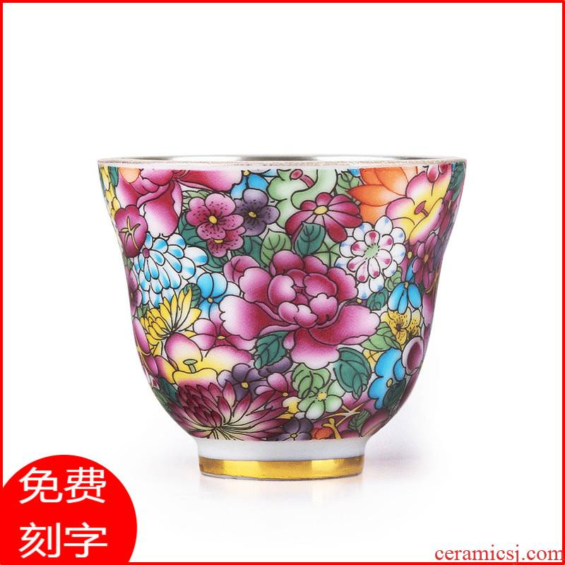 Jingdezhen tea cups porcelain enamel silver cup silver 999 authentic kung fu bladder coppering. As silver sample tea cup