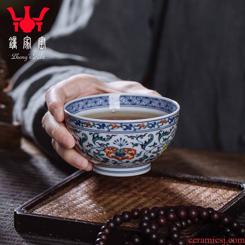 Clock home trade, one cup of single CPU jingdezhen maintain chenghua bucket colors branch pattern kung fu tea cup personal cup