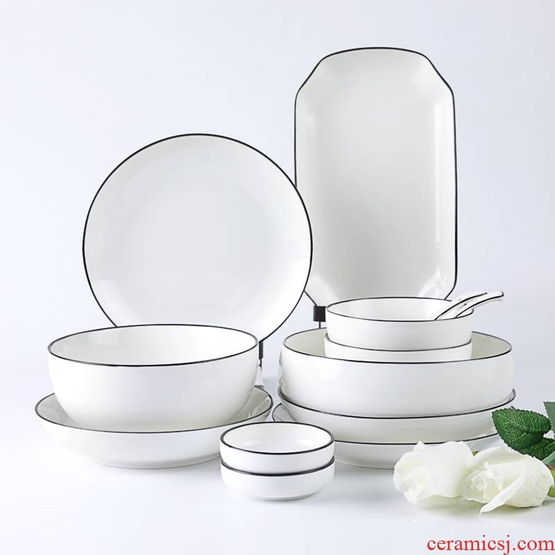 A thing of French I and contracted household dishes suit black ceramic tableware couples always use by 2/4 people eat