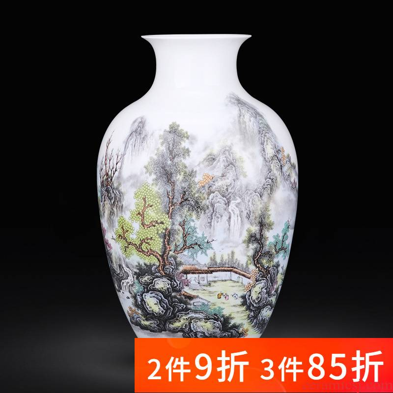 Jingdezhen porcelain ceramic pastel landscape vase of new Chinese style household furnishing articles rich ancient frame flower arrangement sitting room decorations