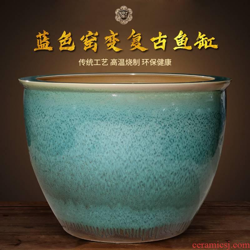 Archaize of jingdezhen ceramic aquarium large raising goldfish bowl lotus lotus basin home sitting room courtyard large tank