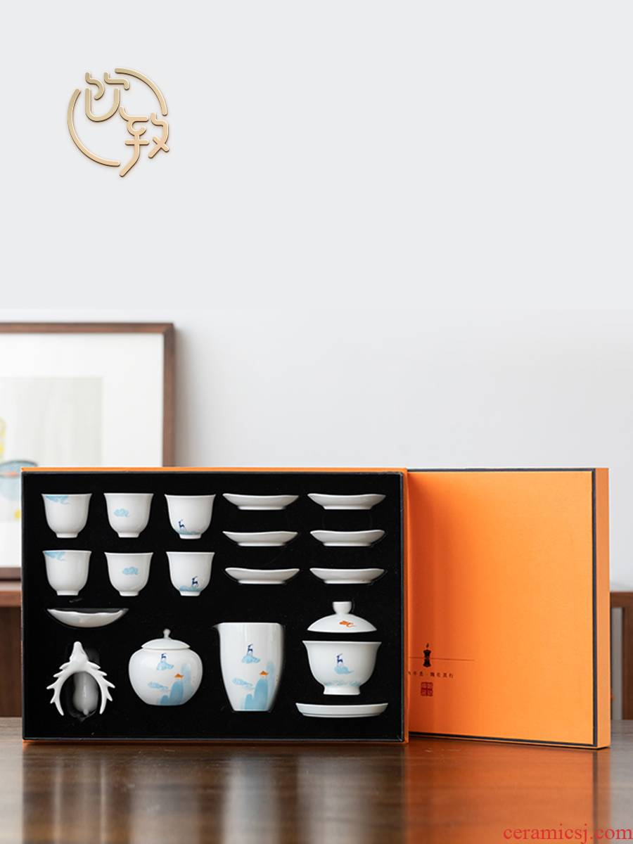 Ultimately responds white porcelain Japanese kung fu tea set to suit creative household ceramics tureen tea cups small set of checking out gift boxes