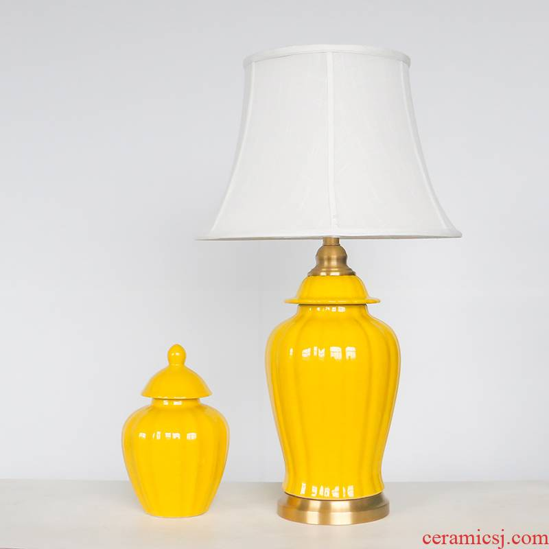 The General creative yellow pumpkin jar ceramic desk lamp of new Chinese style hotel sitting room adornment lamps and lanterns of bedroom the head of a bed is placed