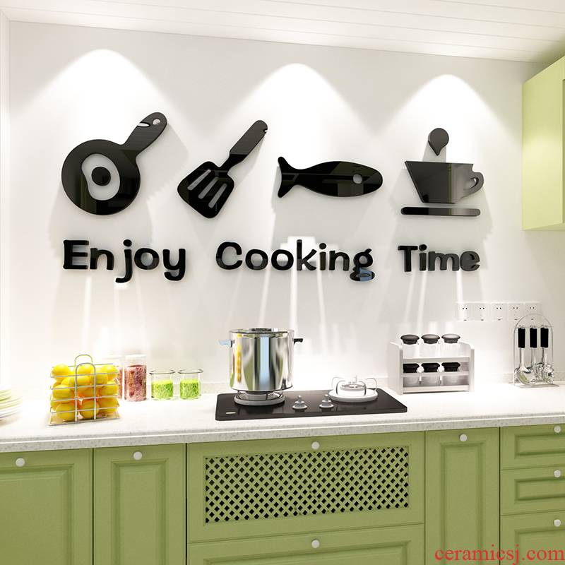 Kitchen countertops glass wall stickers painting 3 d creative restaurant tableware cupboard of Kitchen feel adornment metope ceramic tile
