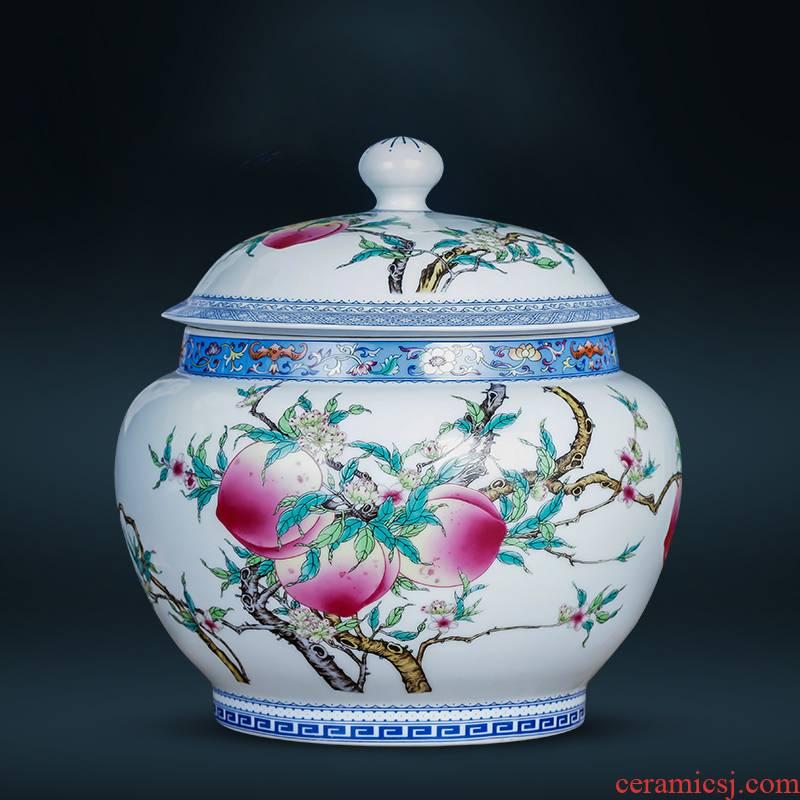 Archaize of jingdezhen porcelain ceramic powder enamel with cover large seal caddy fixings moistureproof puer tea cake storage jar
