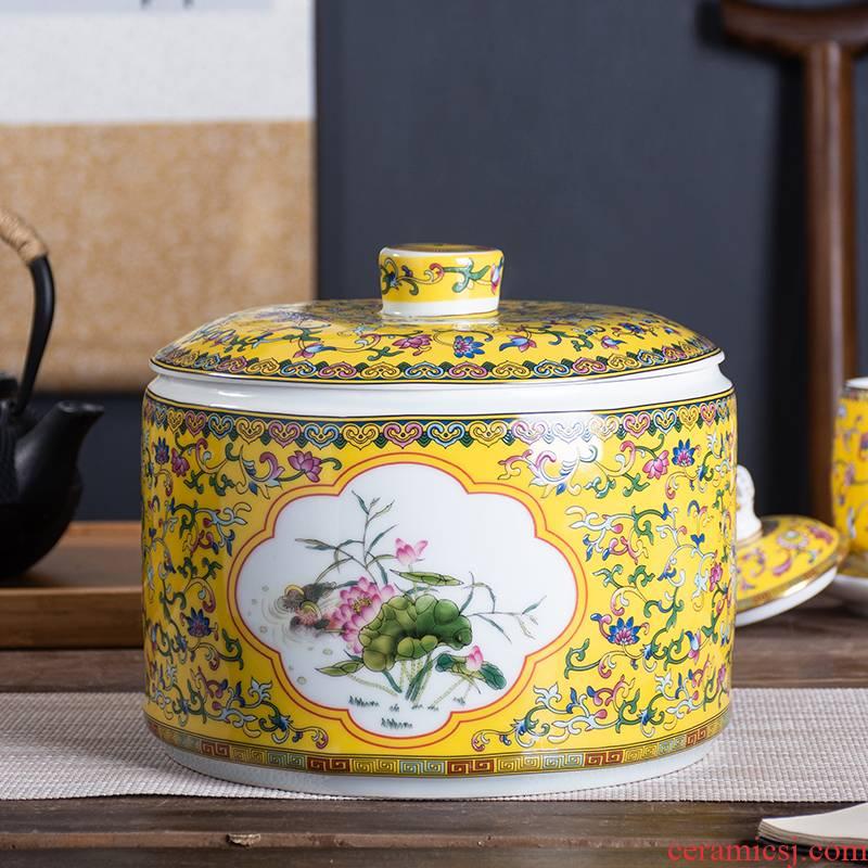 Jingdezhen ceramic tea pot large wake receives colored enamel tea urn home seal storage tank puer tea