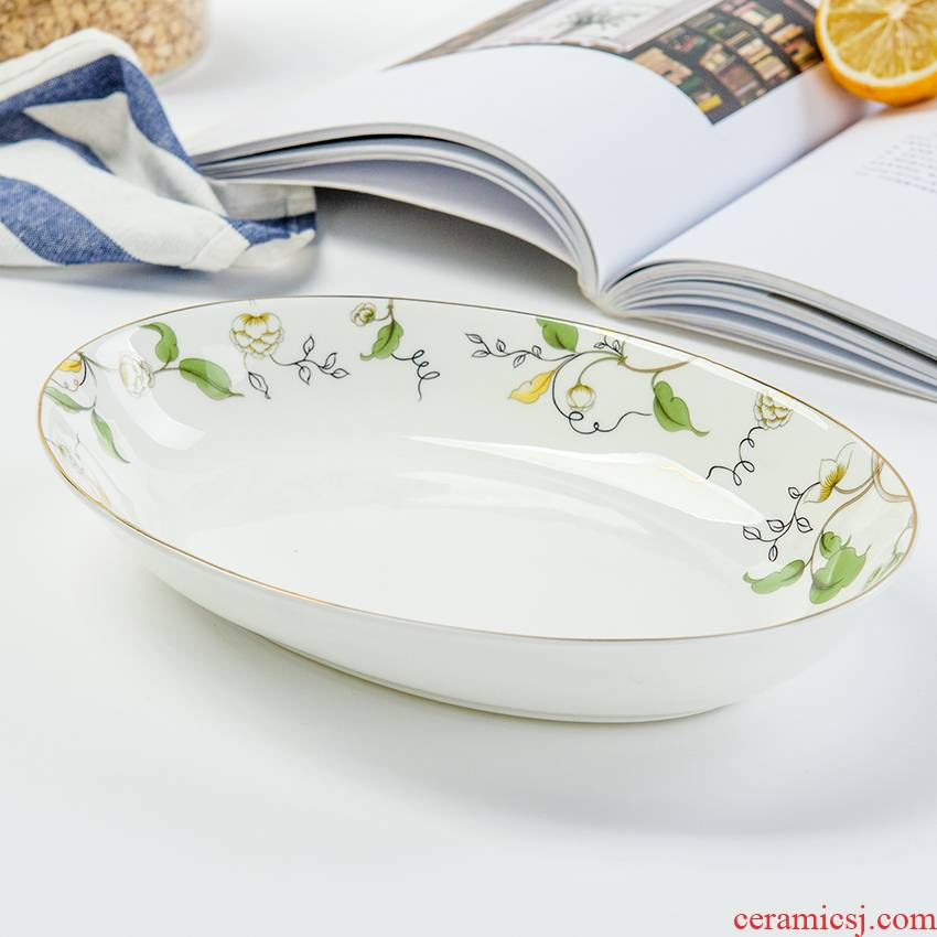 Tangshan ipads porcelain soup fish dish 10 inches household head dish hotel tableware oval 10 inches deep fish dishes