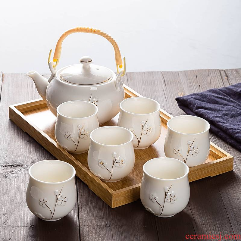 Manual paint jingdezhen girder ceramic tea set suit modern household contracted teapot teacup tray
