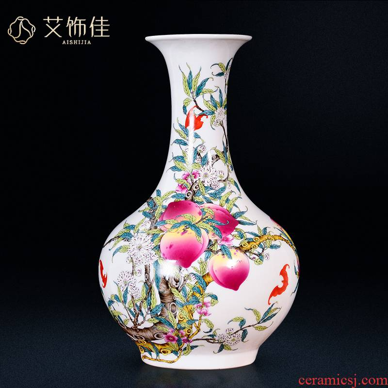 Jingdezhen ceramic antique qianlong pastel peach blossom put nine bottles of classical Chinese style household, sitting room adornment furnishing articles tree