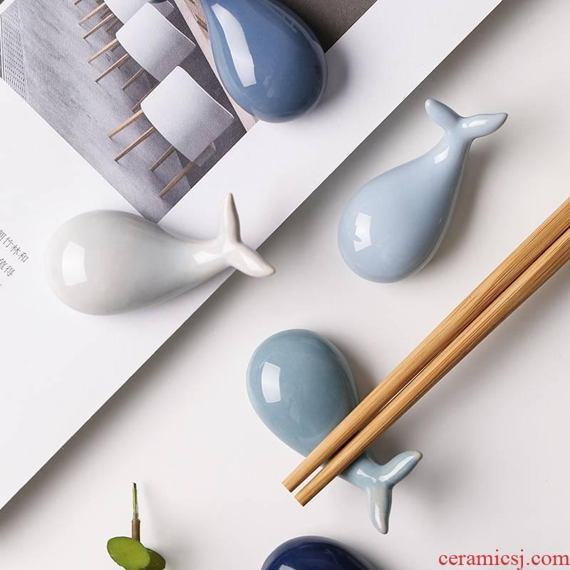 Creative Japanese whale ceramic chopsticks chopsticks frame, lovely spoon holder frame spoon, chopsticks holder frame chopsticks pillow household utensils