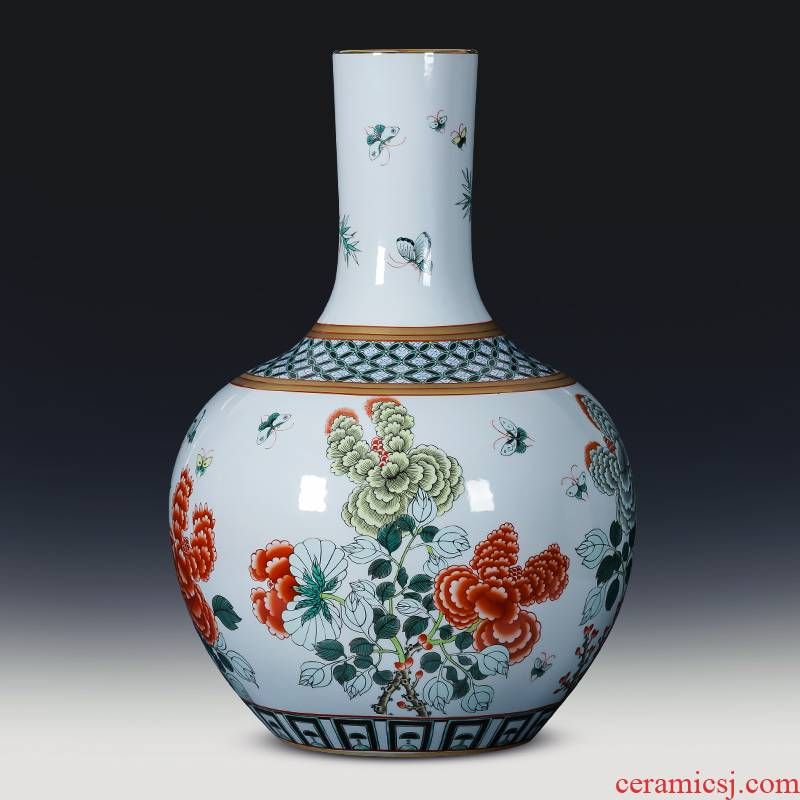 Jingdezhen porcelain ceramic imitation the qing qianlong drive large ground vase retro home sitting room adornment is placed