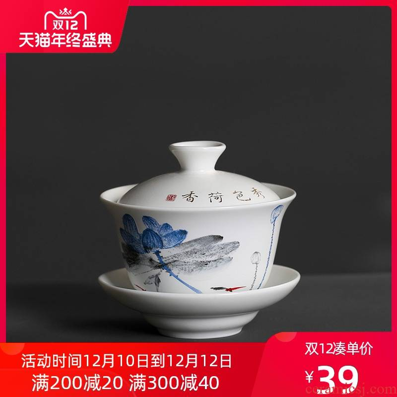 Thorn lotus hand - made up kunfu tea tureen single cover cup tea family tea ceramic cup trumpet
