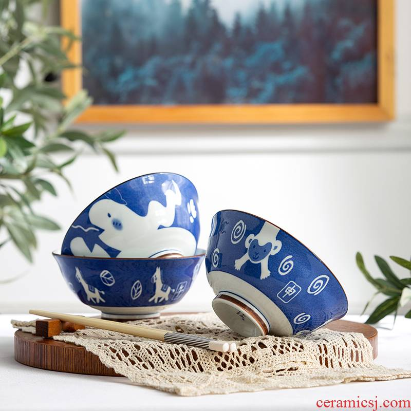 And cartoon workshops under the jingdezhen glaze color ceramic zodiac food bowl bowl bowl rainbow such use