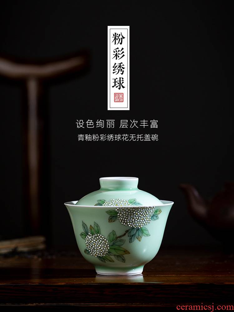 The big bowl is pure hand - made ceramic kung fu The qing glaze enamel hydrangea no riding tureen all hand of jingdezhen tea service