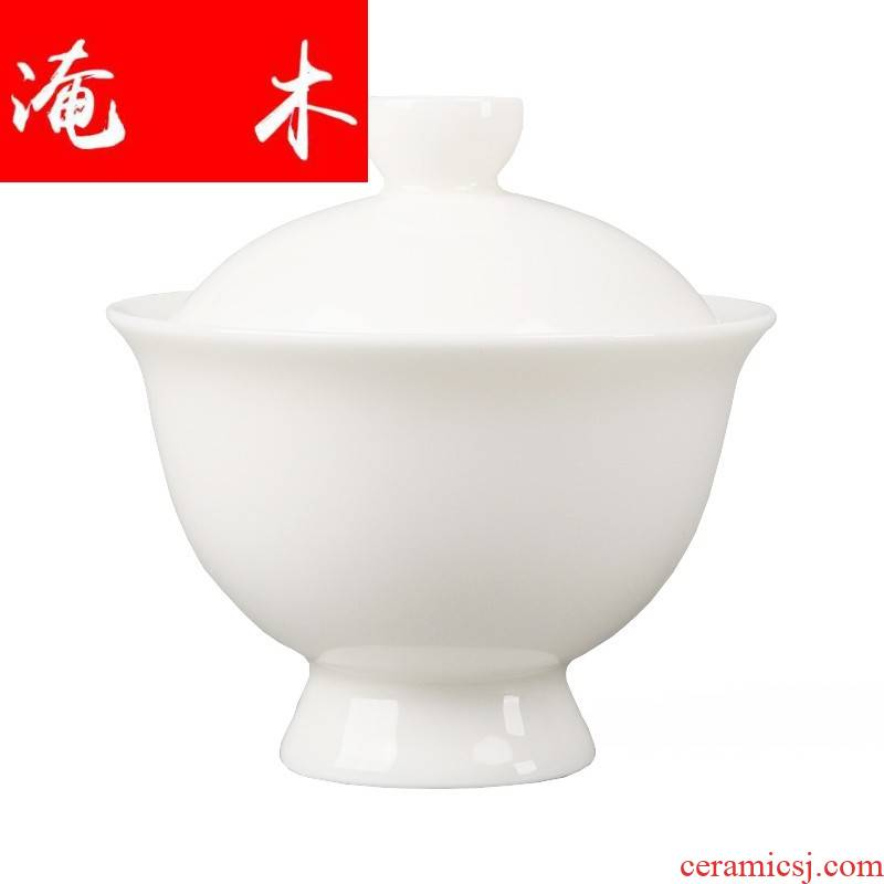 Flooded lignin in wood as suet jade ceramic tureen manual white porcelain contracted large tea for kung fu tea bowl