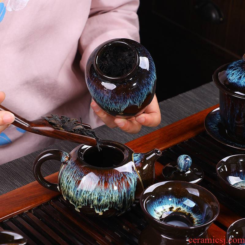 Hui shi built one variable kung fu tea set ceramic teapot teacup retro nostalgia Japanese household small set of all up with contracted