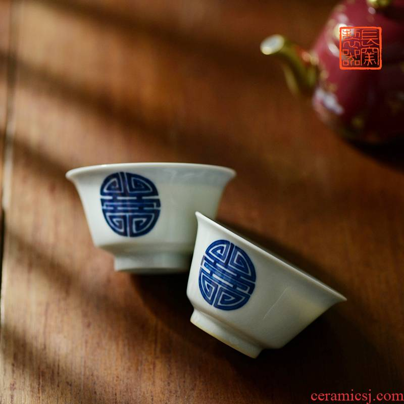 Offered home - cooked in view flavour is blue and white group long - lived cups of jingdezhen ceramic tea set manually master cup sample tea cup