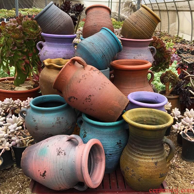 Terra cotta appeared breathable ceramic large flower pot beautiful retro super large diameter fleshy household estivate household flower pot