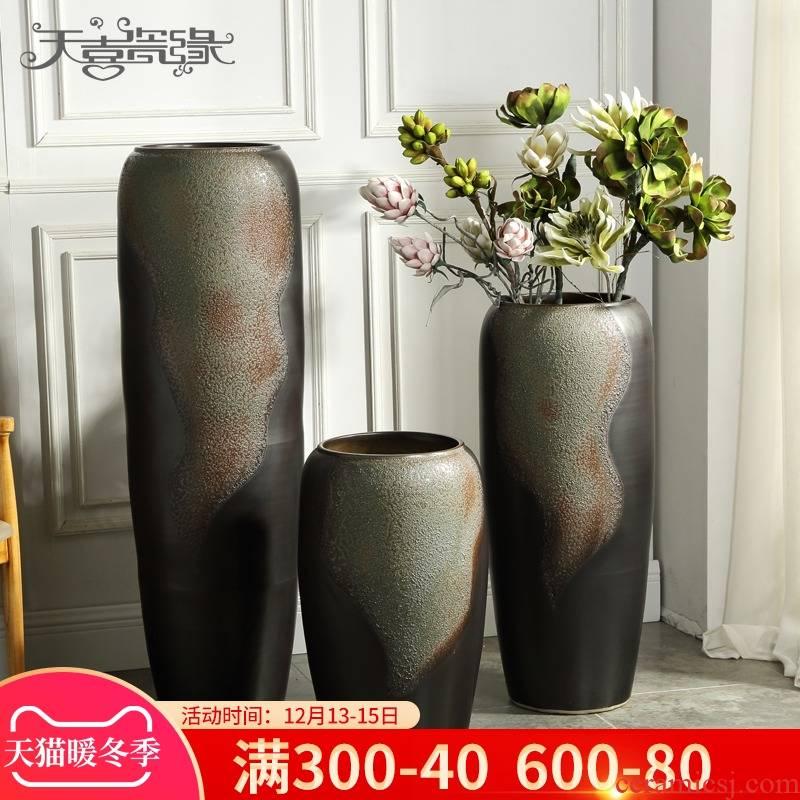 Jingdezhen ceramic floor big vase furnishing articles of modern European American club hotel in the living room window flower POTS