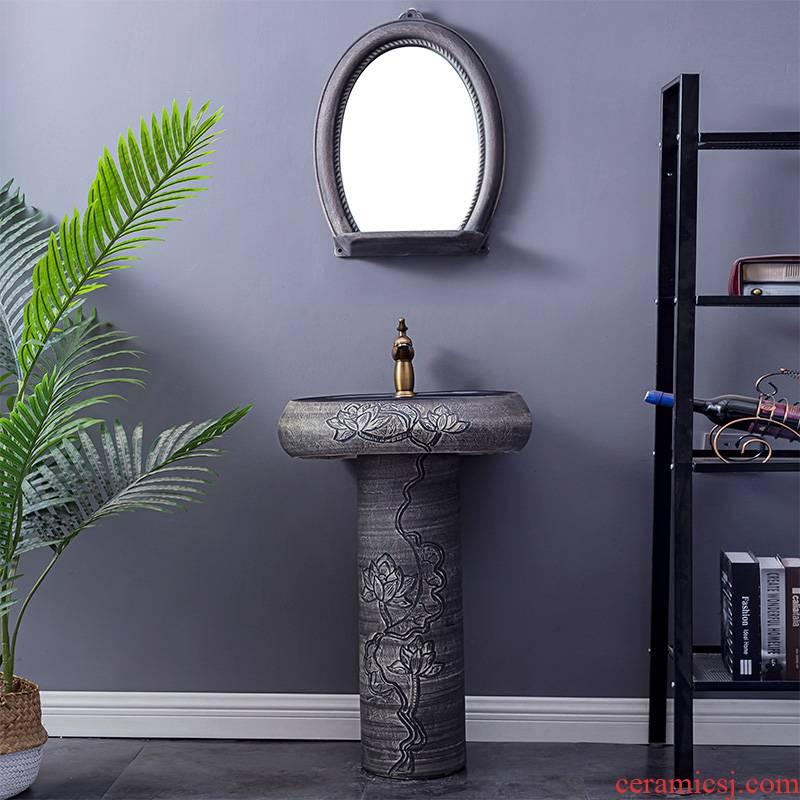 Household lavabo floor pillar basin courtyard balcony toilet stage basin integrated basin ceramic sinks 8