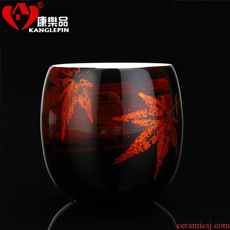 Recreational product lacquer tea master Chinese lacquer natural jade porcelain cup blue gold bugs sample tea cup pure manual small tea cups